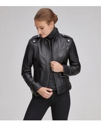 Andrew Marc Rego Classic Leather Racer Jacket - Black