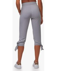 Andrew Marc Washed French Terry Tie Bottom Crop Pant - Grey