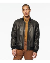 Andrew Marc Summit Baseball Leather Bomber - Brown