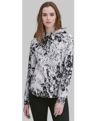 Andrew Marc Long Sleeve Printed Hoodie Pullover - Gray