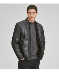 Andrew Marc Cafe Racer Leather Moto Jacket - Black
