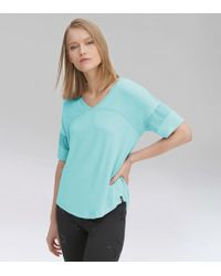 Andrew Marc V-neck Active Tee With Mesh Sleeves - Blue