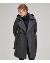 Andrew Marc Rae Double Breasted Wool Coat - Gray