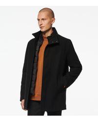 Andrew Marc Barton Mid-length Wool Car Coat - Black