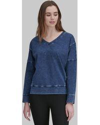Andrew Marc Dolman Sleeve V-neck Pullover - Blue