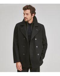 Andrew Marc Emmett Wool Peacoat - Black
