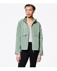 Andrew Marc Hooded Windbreaker With Mesh Back Vent - Green
