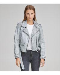 Andrew Marc Madison Crackle Leather Jacket - White