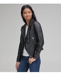 Andrew Marc Bayside Leather Scuba Jacket - Black