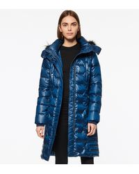 Andrew Marc Plymouth Belted Quilt Down Coat - Blue