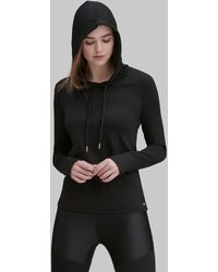 Andrew Marc Hooded Active Pullover Top - Black