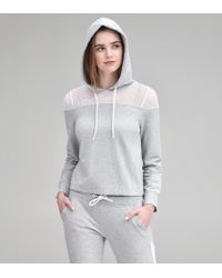 Andrew Marc Mixed Media Hooded Pullover - Gray