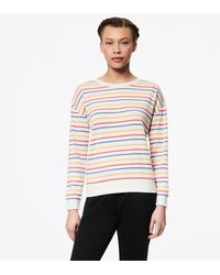 Andrew Marc Long Sleeve Striped Drop Shoulder Pullover - White