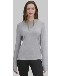 Andrew Marc Long Sleeve Hooded Tee With Mesh Inset - Gray
