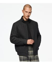 Andrew Marc Barlow Wool Bomber Jacket - Grey