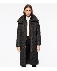 Andrew Marc Merlette Chevron Quilted Long-line Puffer - Black