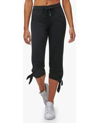 Andrew Marc Washed French Terry Tie Bottom Crop Pant - Black