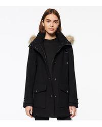 Andrew Marc Montagne Wool Duffle Coat - Black
