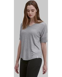 Andrew Marc V-neck Active Tee With Mesh Sleeves - Gray