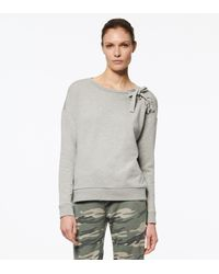 Andrew Marc Weekend French Terry Lace Up Pullover - Grey