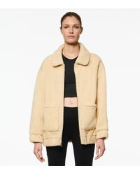 Andrew Marc Abby Faux Sherpa Collared Long Jacket - Natural