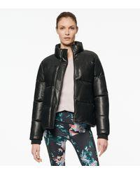 Andrew Marc Alex Faux Leather Super Puffer Jacket - Black
