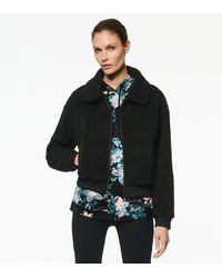Andrew Marc Carli Faux Sherpa Collared Bomber Jacket - Black