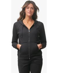 Andrew Marc Off Duty French Terry Zip Hoodie With Raw Edge - Black
