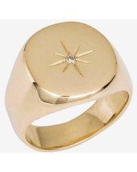 Anine Bing 14k Yellow Gold & Diamond Signet Ring - Metallic