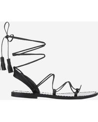 Anine Bing Lace Up Sandals With Tassels - Natural