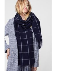 Anine Bing Plaid Wool Scarf - Blue