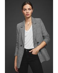 Anine Bing Fishbone Wool Blazer - Black