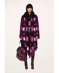 Anna Sui Ombre Plaid Coat - Purple