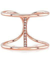 Anne Sisteron - 14kt Rose Gold Diamond Bridge Ring - Lyst