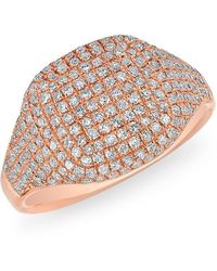 Anne Sisteron - 14kt Rose Gold Diamond Cushion Pinkie Ring - Lyst