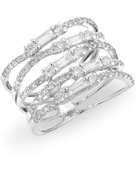 Anne Sisteron - 14kt White Gold Diamond Baguette Stacked Ring - Lyst