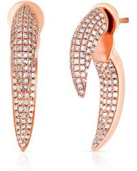 Anne Sisteron 14kt Rose Gold Diamond Sabre Earrings - Multicolor