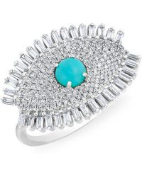Anne Sisteron - 14kt White Gold Baguette Diamond Turquoise Evil Eye Gypsy Ring - Lyst