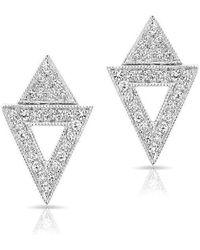 Anne Sisteron - 14kt Yellow Gold Diamond Double Triangle Open Stud Earrings - Lyst