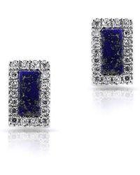 Anne Sisteron - 14kt White Gold Lapis Diamond Bar Stud Earrings - Lyst