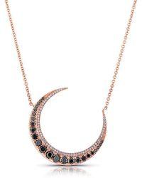 Anne Sisteron - 14kt Rose Gold Black Diamond Lunar Necklace - Lyst