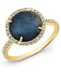 Anne Sisteron - 14kt Yellow Gold Dark Azul Diamond Round Cocktail Ring - Lyst