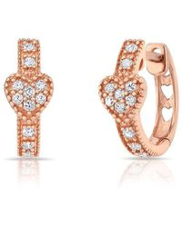 Anne Sisteron - 14kt Rose Gold Diamond Heart Huggie Earrings - Lyst