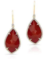 Anne Sisteron - 14kt Yellow Gold Orange Red Sapphire Diamond Leaf Earrings - Lyst