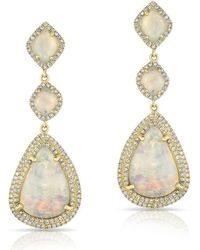 Anne Sisteron - 14kt Yellow Gold Double Halo Opal Pear Drop Earrings - Lyst