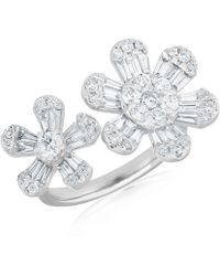 Anne Sisteron - 14kt White Gold Baguette Diamond Double Daisy Ring - Lyst