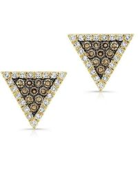 Anne Sisteron - 14kt Yellow Gold Triangle Studs Champagne Diamonds - Lyst