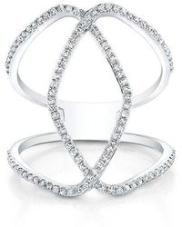 Anne Sisteron - 14kt White Gold Diamond Edgy Cigar Band Ring - Lyst