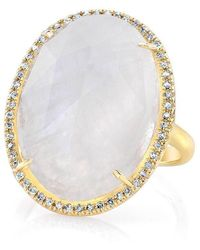 Anne Sisteron - 14kt Yellow Gold Moonstone Diamond Oval Cocktail Ring - Lyst