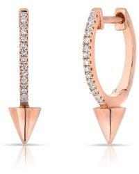 Anne Sisteron - 14kt Rose Gold Diamond Spike Nia Huggie Earrings - Lyst